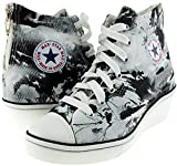 Maxstar Printed High-top Back Zipper Canvas Fabric Low Wedge Heels Shoes
