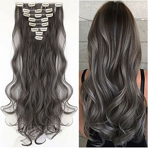 S-noilite 24 Inches Long Curly Full Head Clip in Synthetic Hair Extensions 8pcs 170g (24