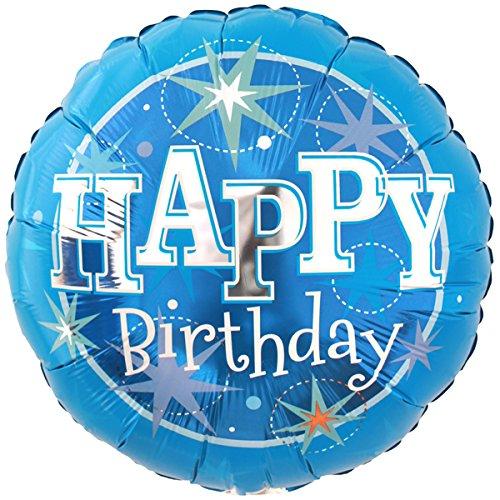 "Qualatex 18"" Birthday Blue Sparkle Round Supra Foil Balloon"