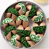 DOSE OF GOOD FORTUNES: A Dozen Dark and White Chocolate Hand-Dipped Fortune Cookies Decorated for Saint Patrick's Day & Nestled in a Gold Container