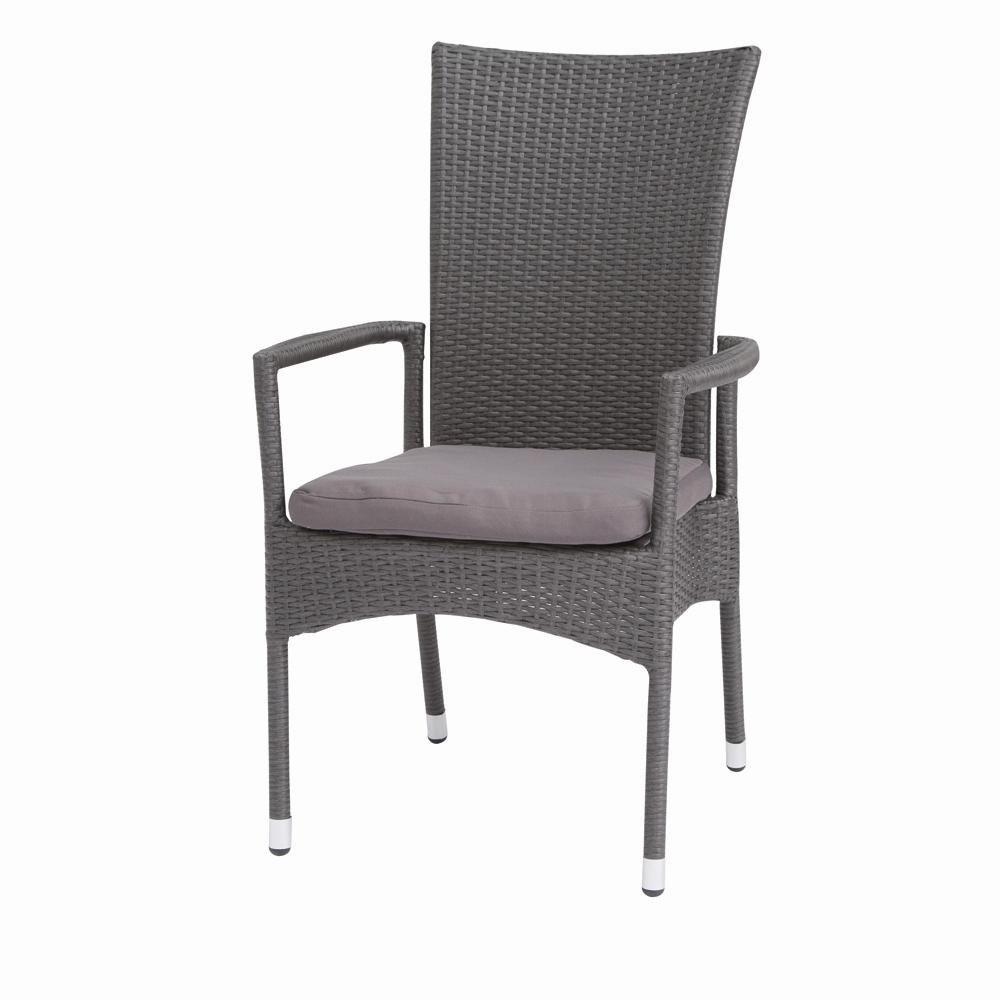 Siena Garden 120311 Stapelsessel Derio Aluminium-Gestell Gardino®-Geflecht titan inkl. Kissen grau, Rücken mehrfach verstellbar