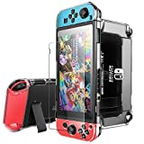 Pakesi Case for Nintendo Switch, Compatible Nintendo Switch Case and Tempered Glass Screen Protector (360 Degree Full Enclosure Protection)-Clear (Color: R1005-Silver)