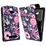 Accessory Master Case for HTC 8X Leather Butterfly Flower Design Pink / Black