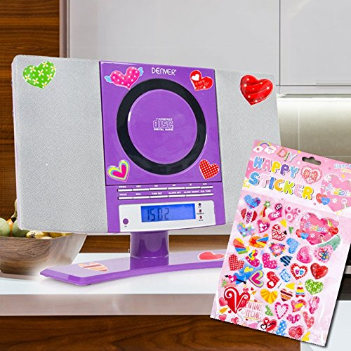 Tuner lecteur CD MP3 musique stéréo fille du jeu y compris autocollants coeurs