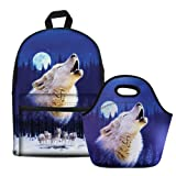 Bigcardesigns Blue Wolf Animal Canvas Travel Backapck with Lunch Tote Bag for Kids Back to School (Color: Blue Wolf - 2 pcs/set, Tamaño: Medium)