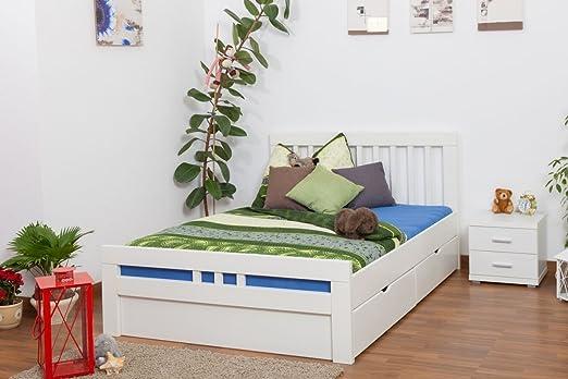 """Bett / Funktionsbett """"Easy Sleep"""" K8 inkl. 4 Schubladen und 2 Abdeckblenden, 140 x 200 cm Buche Vollholz massiv weiß lackiert"""
