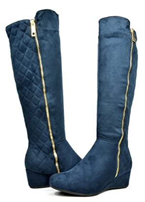 DREAM PAIRS SLIMMER Women's Fashion Winter Fur Interior Side Zipper Quilted Panel Low Wedge Knee High Boots Blue Size 8