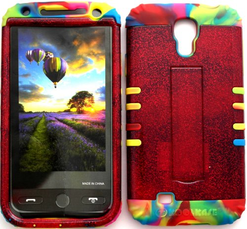 High Impact Hybrid Cover Case For Samsung Galaxy S4 Lv I500 Red Glitter Snap On + Rainbow Gel With Screen Protector, Purple Stylus Pen, Cleaning Cloth And Earphone Winder By Wireless Fones front-338295