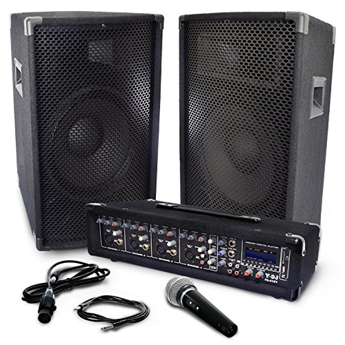 Y-DJ PA Speaker System Kit With 250 watt Power Amplifier, 4 Channel Audio Mixer, Pair of speakers, Microphone & Cables (Mic Mixer Amplifier compare prices)