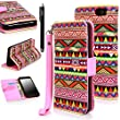 E LV Amazon Fire Phone Case Cover - Deluxe PU Leather Wallet Flip Case with 1 Stylus for Amazon Fire smatphone - Colorful