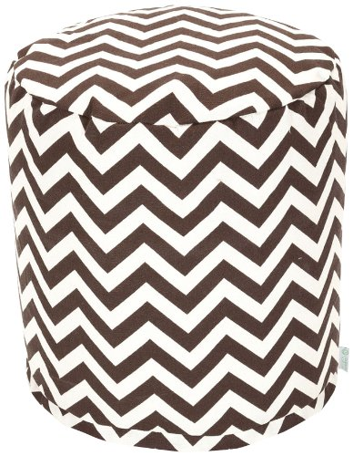 Majestic Home Goods Chocolate Chevron Pouf, Small, Chocolate