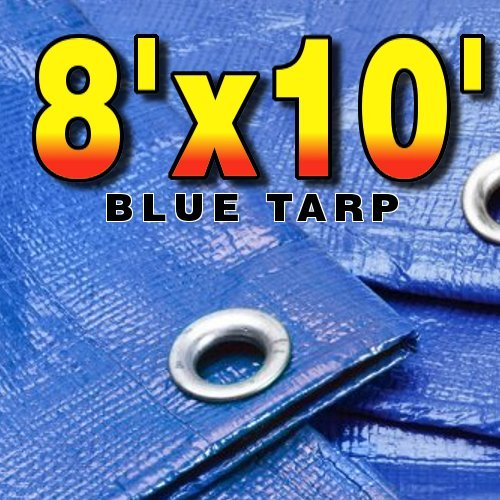 8′ X 10′ Premium Blue Multi-Purpose 6-mil Waterproof Poly Tarp Cover 8×10 Tent Shelter Camping Tarpaulin by Unique Imports