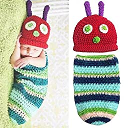 ZMG Newborn Baby Boy Girl Beanie Crochet Very Hungry Caterpillar Hat Cocoon Set Party Costume Photo Props