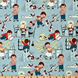 Fat Quarter Little Chef Teal Quilting Fabric - Michael Miller