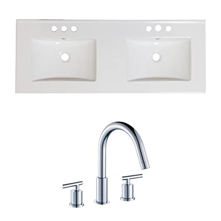 "Jade Bath JB-15930 60"" W x 18.5"" D Ceramic Top Set with 8"" o.c. CUPC Faucet, White"