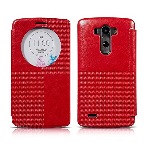 Ivapo Vintage Luxury Intelligent Window Feature Classic Cover Case For Lg G3 (Mm441) (Red)