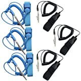 ESD Anti-Static Wrist Strap Components, DaKuan 6 Packs Anti-Static Wrist Straps Equipped with Grounding Wire and Alligator Clip, Grounding Solution for Working on Sensitive Electronic Devices