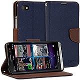 BlackBerry Z30 Case, GMYLE Wallet Case Classic for BlackBerry Z30 - Navy Blue & Brown Cross Pattern PU Leather Slim Wallet Case Flip Folio Stand Cover