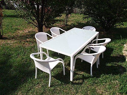 TAVOLO IBIZA DA GIARDINO IN WICKER 160 X 90 BIANCO CON VETRO