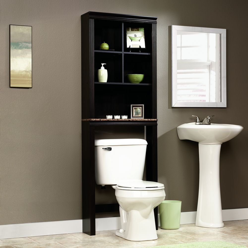 sauder peppercorn etagere bath cabinet cinnamon cherry finish