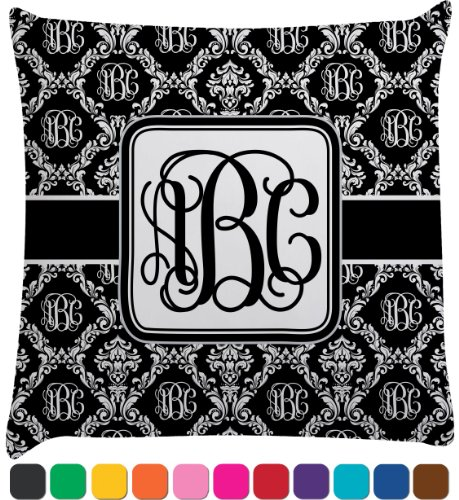 Monogrammed Damask Decorative Pillow Case (Personalized) front-79146