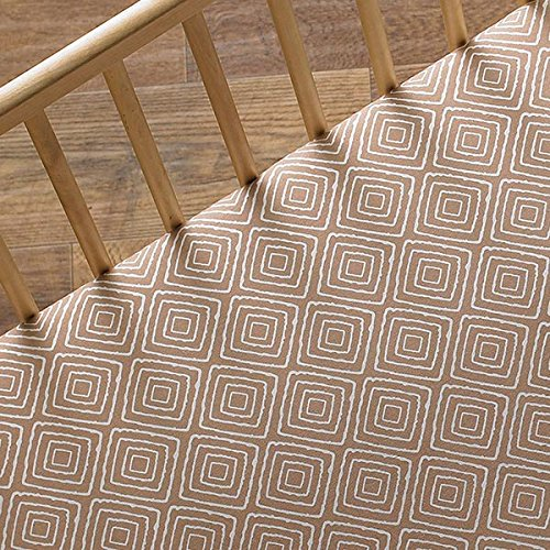 Lolli Living Zig Zag Zoo Fitted Sheet Taupe Maze, Multi