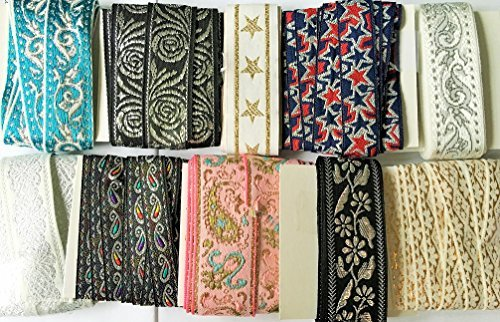 jay-company-metallic-jacquard-craft-sewing-ribbon-trim-variety-pack-2-yards-of-10-styles-20-yards-to