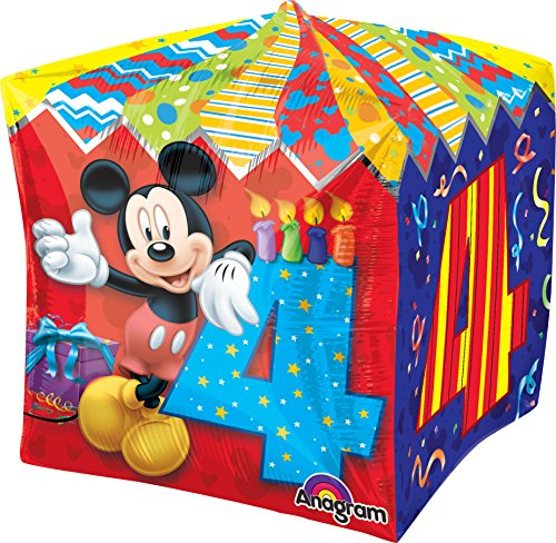 "Anagram International Mickey Age 4 Cubez Balloon Pack, 15"", Multicolor"