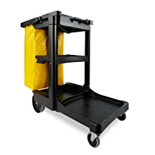 Rubbermaid Commercial FG617388BLA Wheeled 3-Shelf Housekeeping Cart with Zippered Yellow Vinyl Bag, Black