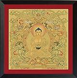 Thangka Goldgrundthangka Buddha Shakyamuni Kunstdruck mit schönen schwarzen Holzrahmen hinter Glas von Nielsen Reproduktion 40×40 cm Rahmen