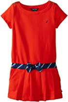 Nautica Girls 2-6X French Terry Dress, True Red, 5