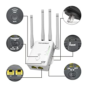 GALAWAY WiFi Extender 4 External Antennas 1200Mbps Wireless Signal Booster Dual Band 2.4GHz and 5GHz WiFi Range Amplifier with 802.11ac/a/b/g/n Standards (Color: G1200X)