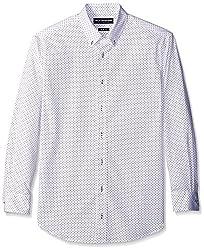 Nick Graham Men's Slim Fit Print Dress Shirt, White, 14.5/32-33