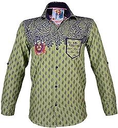 Kidzee 100% Cotton Fashionable Green Color Designer Floral Printed Shirt