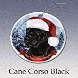 Holiday Pet Gifts Black Cane Corso Santa Hat Dog Porcelain Christmas Tree Ornament
