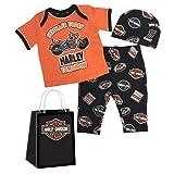 Harley-Davidson Baby Boys' H-D 3 Piece Gift Set w/Gift Bag 2551801 (Color: Orange, Tamaño: 3-6 Months)