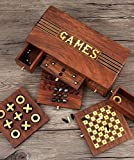 Mothers Day Gift Wooden Handcrafted Unique Board Games Chess, Checkers, Nine Men's Morris and Tic-Tac-Toe 4 in 1 Set Gift Ideas