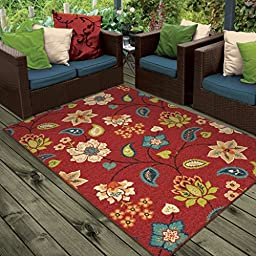 Orian Rugs Indoor/Outdoor Floral Garden Chintz Red Area Rug (5\'2\
