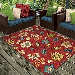 Orian Rugs Indoor/Outdoor Floral Garden Chintz Red Area Rug (5\'2\
