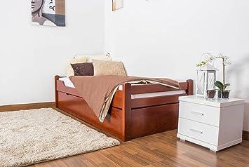 """Lit simple """"Easy Sleep®"""" K1/1h avec 2 tiroirs et 2 panneaux de masquage, 90 x 200 cm en hêtre massif"""