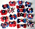 Pack of 30 Dog Hair Bows - Patriotic Memorial Day 4th of July Collection, 1.5 inches