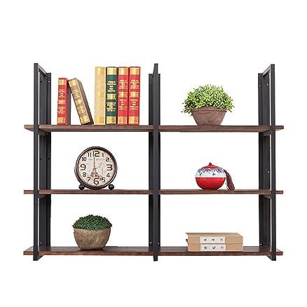 FGSGJ Mensole per scaffali da parete in ferro battuto in stile industriale vintage a soppalco Parete divisoria in legno massello ( dimensioni : 80*25*90cm )