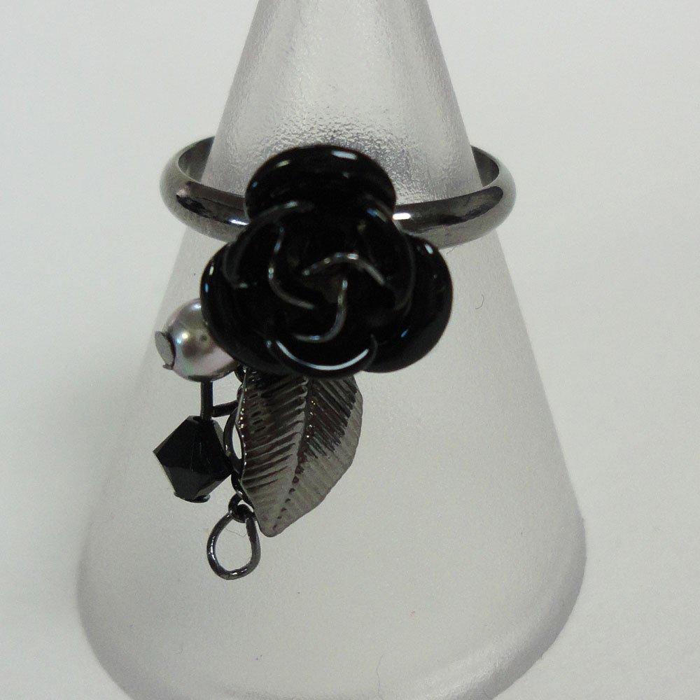 ゴシック蔷薇2连リング ( 黑色) 哥特式的连续上涨2环