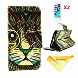 Se7enline Fashion Fresh Cute Flip Wallet Stand Case Cover for iPhone 5 5S/5G with PU Leather and Card Slots,[3 in 1 Bundle] Case+ 2 piece HD Clear Screen Protectors+Soft Clean Cloth, Bohemian Tribal Totem Cat Pattern