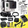 GoPro HERO3+ Silver Edition + Two Replacement Lithium Ion Batteries w/ External Rapid Charger + 32GB microSD Memory Card + Mini HDMI Cable + Carrying Case + Multi Card USB Reader + Memory Card Wallet + Deluxe Starter Kit DavisMAX Bundle
