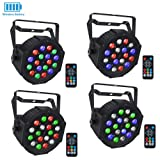 Wireless Stage Lights Package, LaluceNatz 18LED RGB Par Light with Battery Powered 5-15 Hours Playing by DMX IR Remote and Sound Activated for Party Wedding Church Stage Lighting(4pcs) (Color: Black)