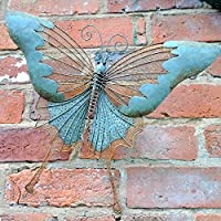 Butterfly Wall Art. Metal with a Verdigris Finish. 45cm x 34cm from Perfect Plants