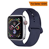 YANCH Compatible with for Apple Watch Band 38mm 40mm, Soft Silicone Sport Band Replacement Wrist Strap Compatible with for iWatch Nike+,Sport,Edition,S/M,Midnight Blue (Color: Midnight Blue, Tamaño: 38mm/40mm S/M)