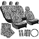 OxGord® 21 Piece Complete Matching Gift Set of Animal Print Deluxe Zebra Fur / Car Seat Covers Full Set / Auto Carpet Floor Mats / Vehicle Steering Wheel Cover & Shoulder Pads - Airbag Compatible - Front Low Back Buckets - 50/50 or 60/40 Rear Split Bench - Universal Fit for Cars, Truck, SUV, or Van, Snow White