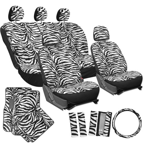 Oxgord 17Pc Zebra Seat Cover Carpet Floor Mat Set For Car/Truck/Van/Suv, White back-68316